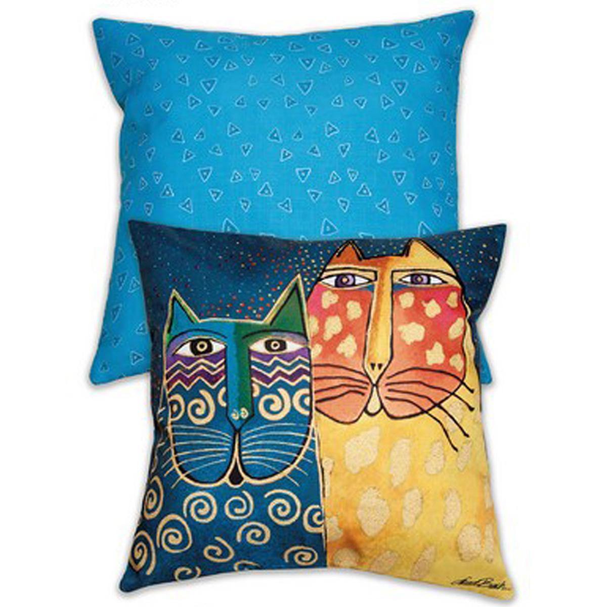 Coussin créateur \'Laurel Burch\' bleu jaune (chats) - 45x45 cm - [A2398]