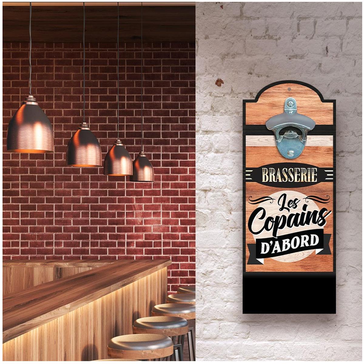 Décapsuleur mural bois \'Brasserie les Copains d\'Abord\' marron - 30x12 cm - [A2420]