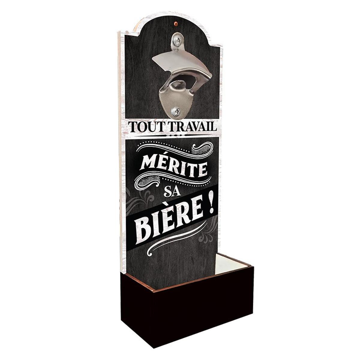 Décapsuleur mural bois \'Tout Travail Mérite Sa Bière\' noir - 30x12 cm - [A2422]