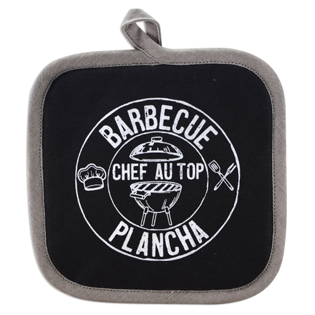 Manique coton \'Chef Barbecue\' noir gris (Barbecue Plancha, chef au top) - 20x20 cm - [A2428]