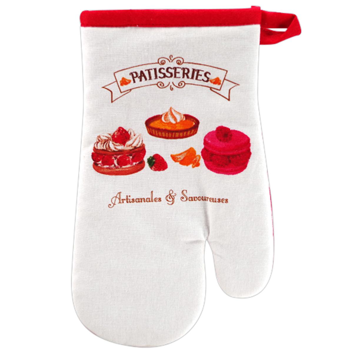 Gant de cuisine \'Pâtisseries\' rouge blanc (Artisanales et Savoureuses) - 28x14 cm - [A2431]