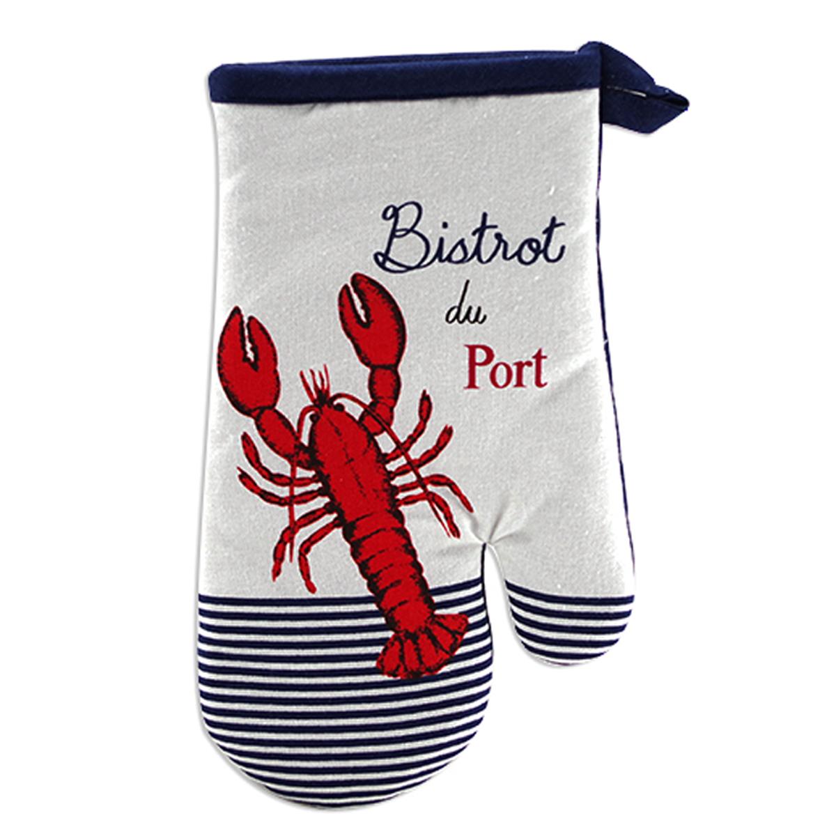 Gant de cuisine \'Bistrot du Port\' bleu rouge blanc (homard) - 28x14 cm - [A2436]