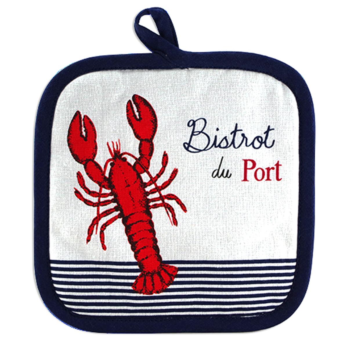 Manique coton \'Bistrot du Port\' bleu rouge blanc (homard) - 20x20 cm - [A2437]