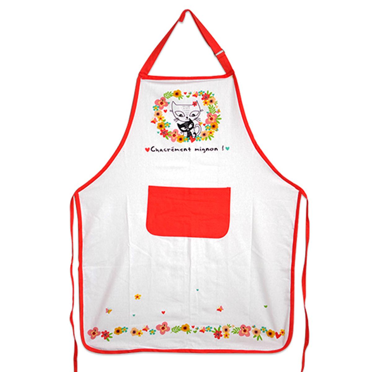 Tablier de cuisine coton \'Chats\' blanc multicolore (Chacrément mignon !) - 90x70 cm - [A2439]