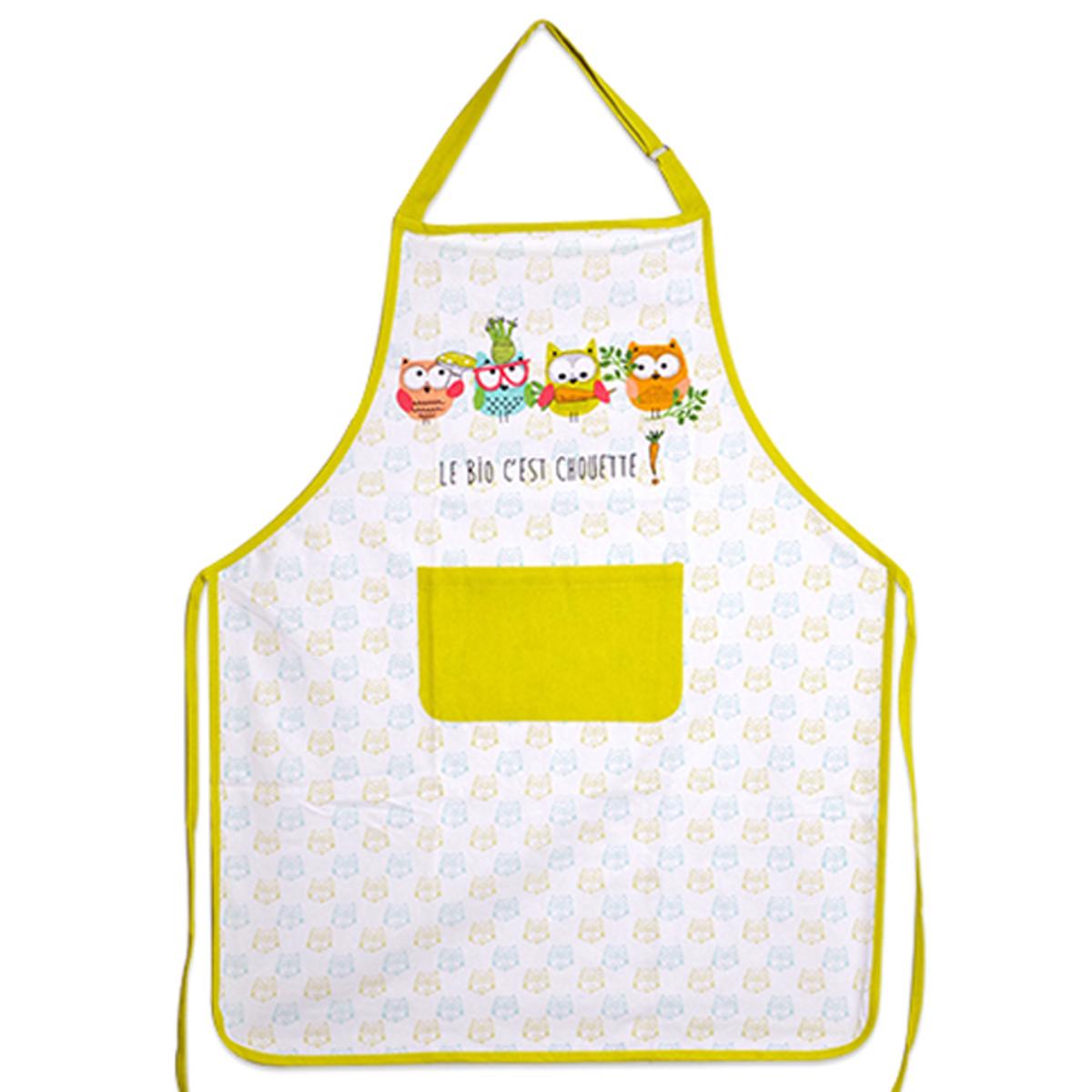 Tablier de cuisine coton \'Chouettes\' blanc multicolore (le bio c\'est chouette !) - 90x70 cm - [A2440]