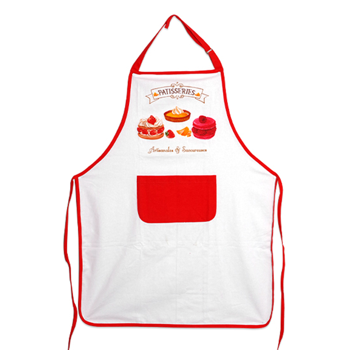 Tablier de cuisine coton \'Pâtisseries\' rouge blanc (Artisanales et Savoureuses) - 90x70 cm - [A2441]