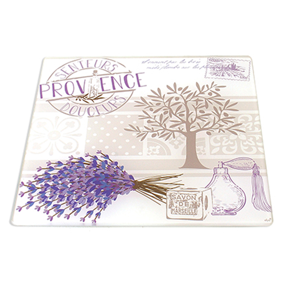 Dessous de plat verre \'Provence\' lavande - 20x20 cm - [A2456]