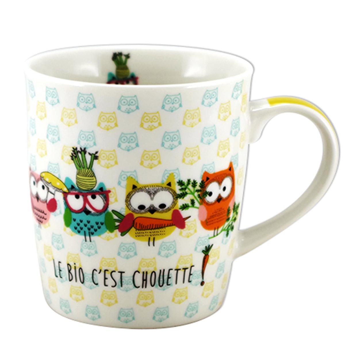 Mug porcelaine \'Chouettes\' multicolore (le bio c\'est chouette !) - 95x85 mm (32 cl) - [A2458]