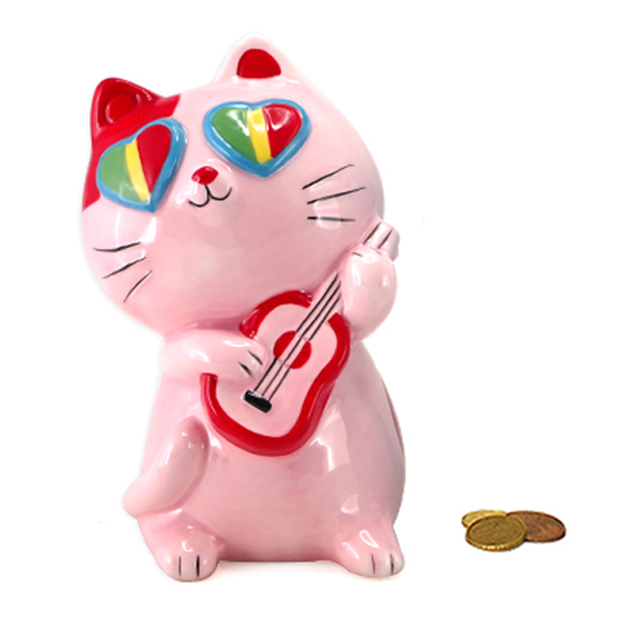 Tirelire céramique \'Chat Musicien\' rose - 14x9x8 cm - [A2463]