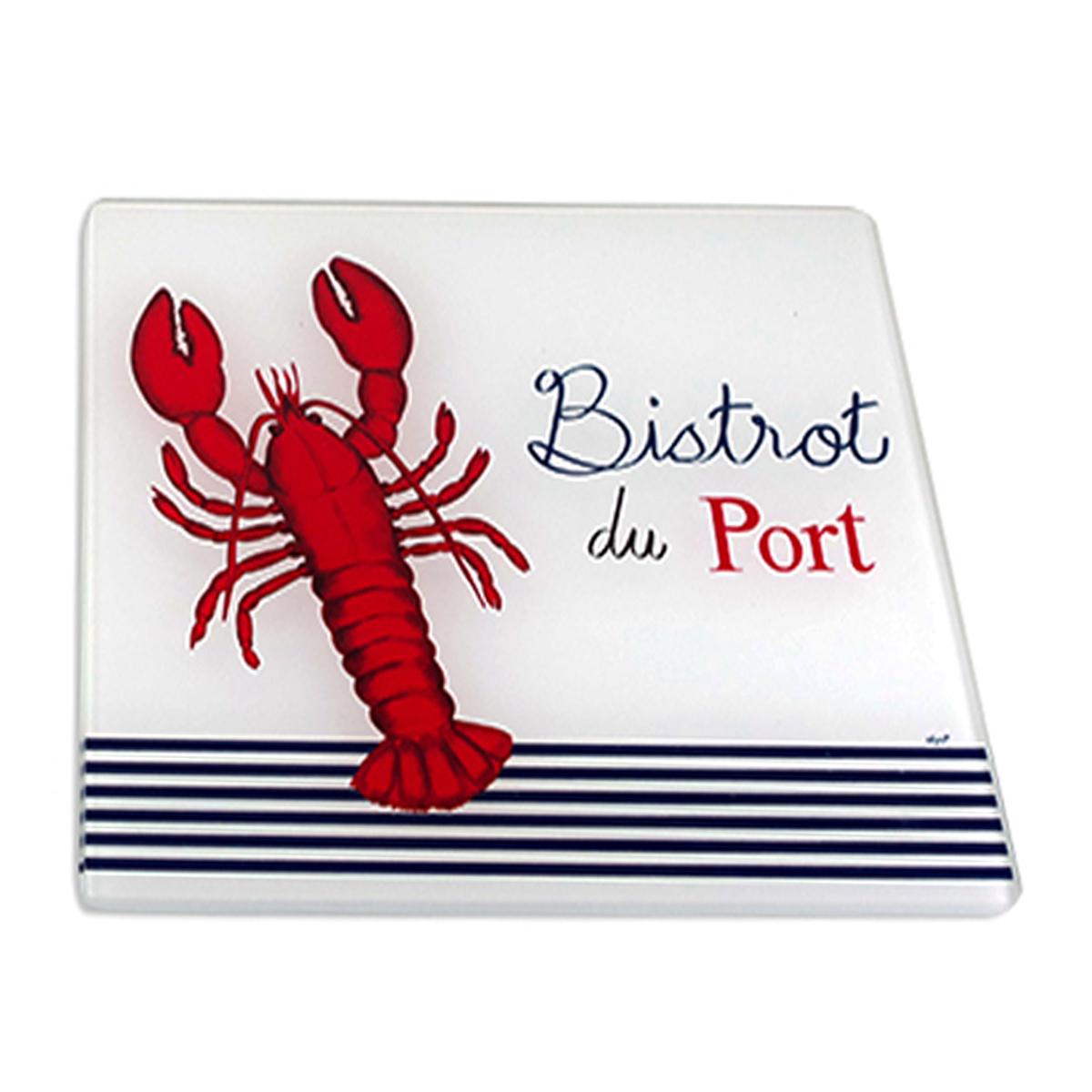 Dessous de plat verre \'Bistrot du Port\' rouge bleu blanc (homard) - 20x20 cm - [A2465]