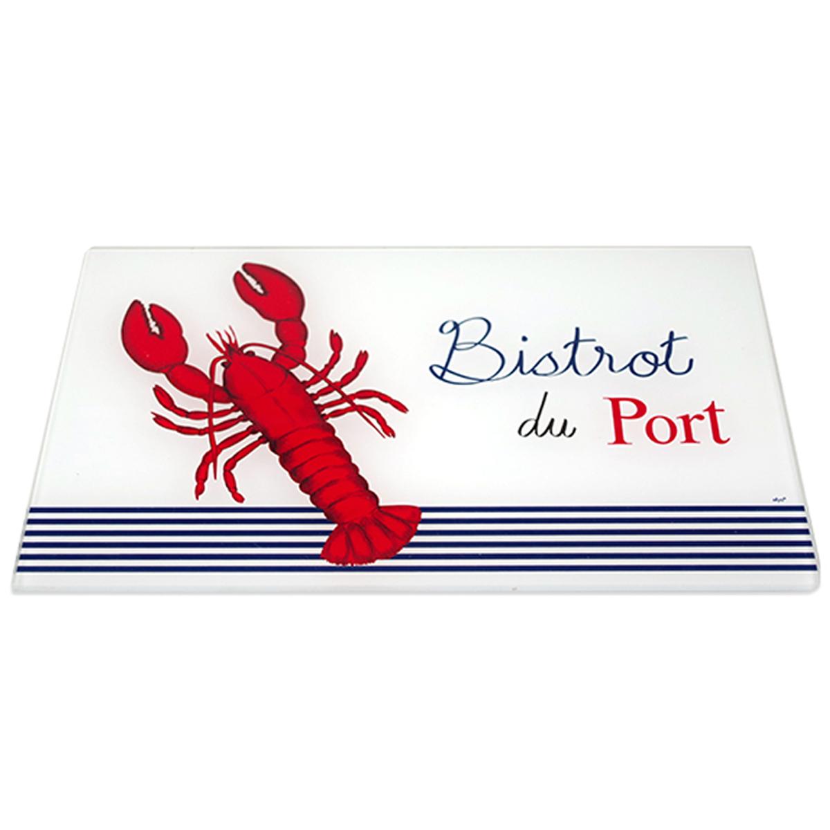 Planche à découpe / dessous de plat verre  \'Bistrot du Port\' rouge bleu blanc (homard) - 30x20 cm - [A2467]