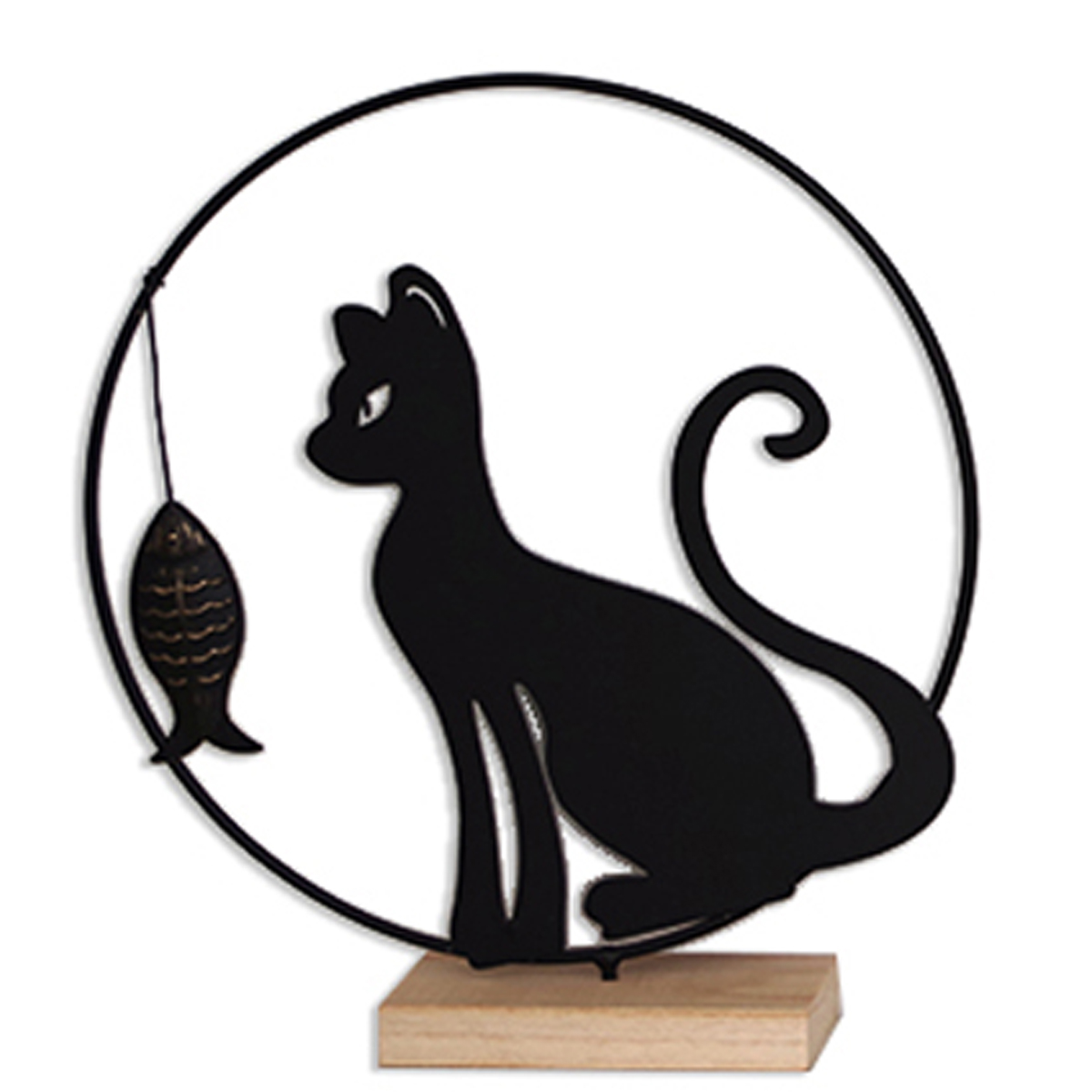 Déco métal bois \'Chat\' noir beige - 28x25x6 cm (ombre chinoise) - [A2493]