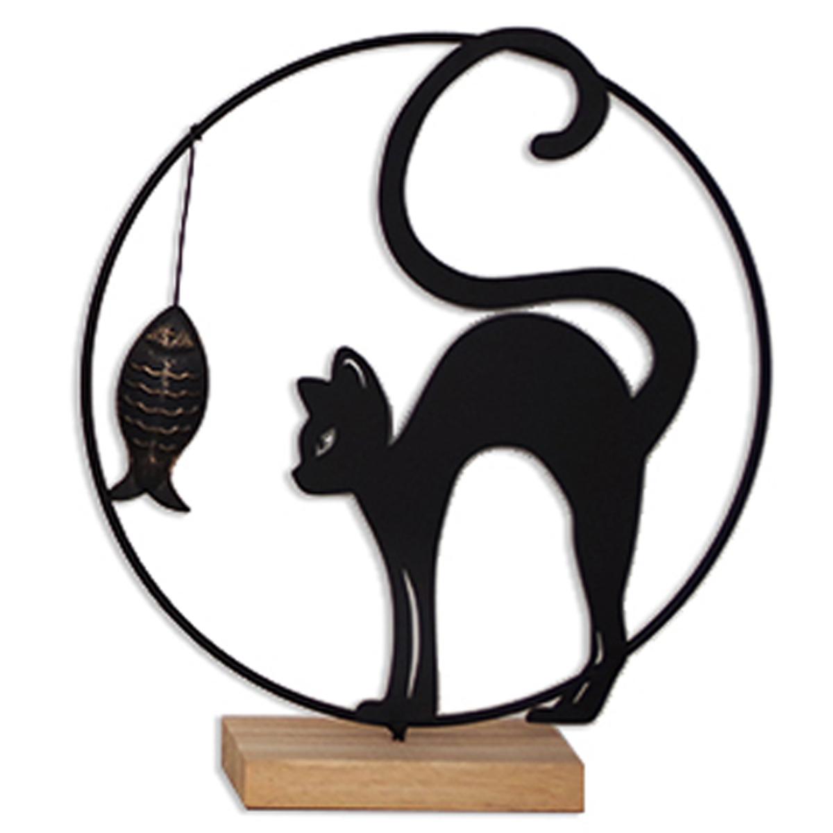 <A MODIFIER> Déco métal bois \'Chat\' noir beige - 28x25x6 cm (ombre chinoise) - [A2494]