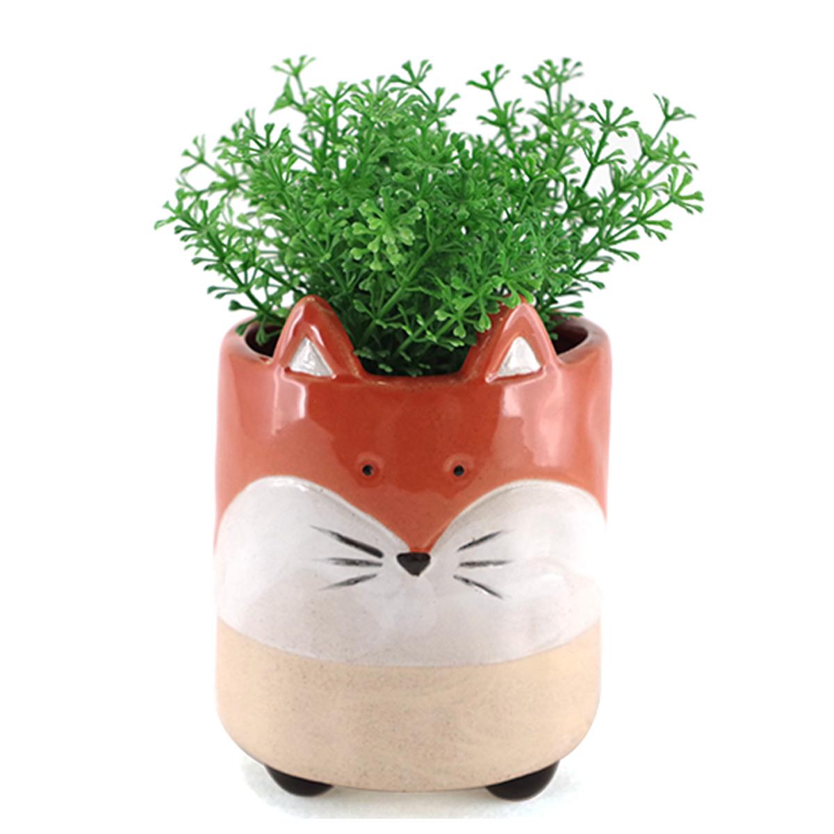 Cache pot céramique \'Renard\' orange - 14x10 cm - [A2495]