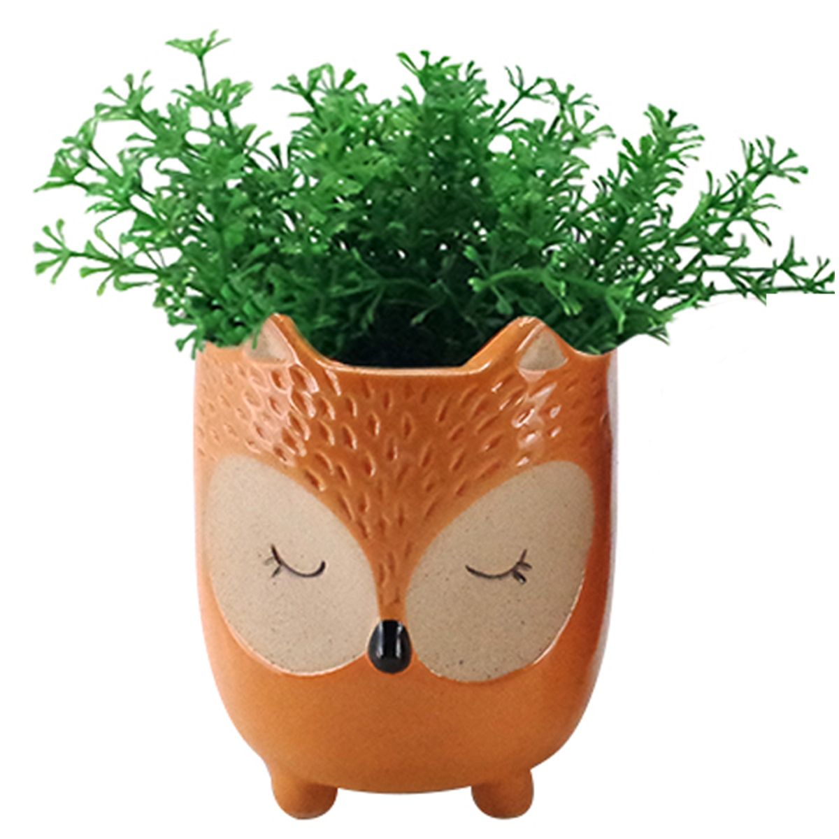 Cache pot céramique \'Chouette\' orange - 13x10 cm - [A2498]