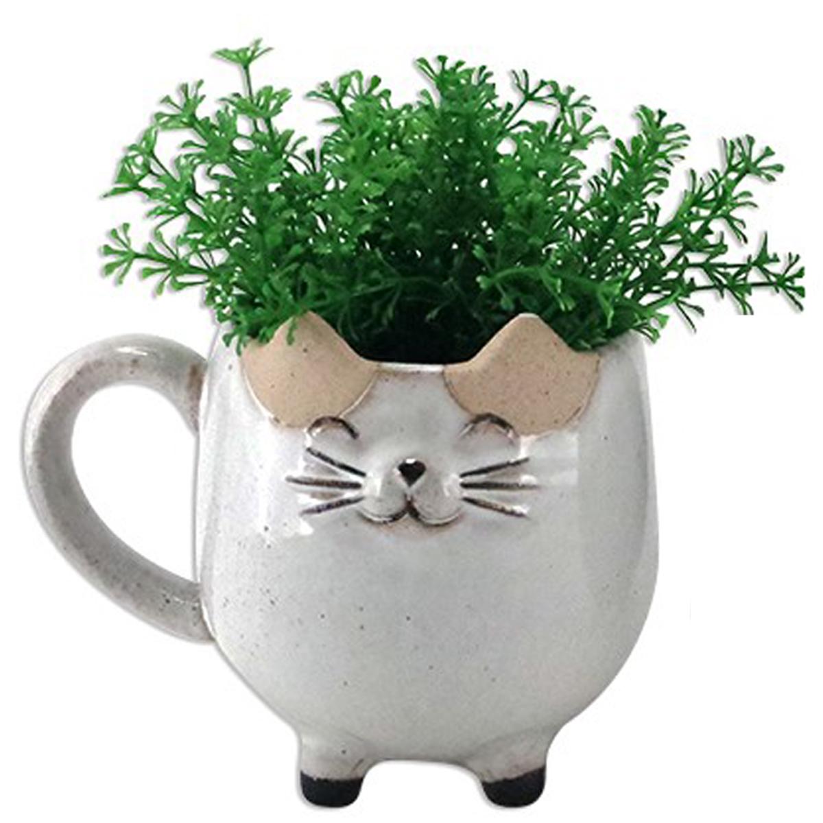 Cache pot céramique \'Chats\' gris clair - 11x10x14 cm - [A2499]