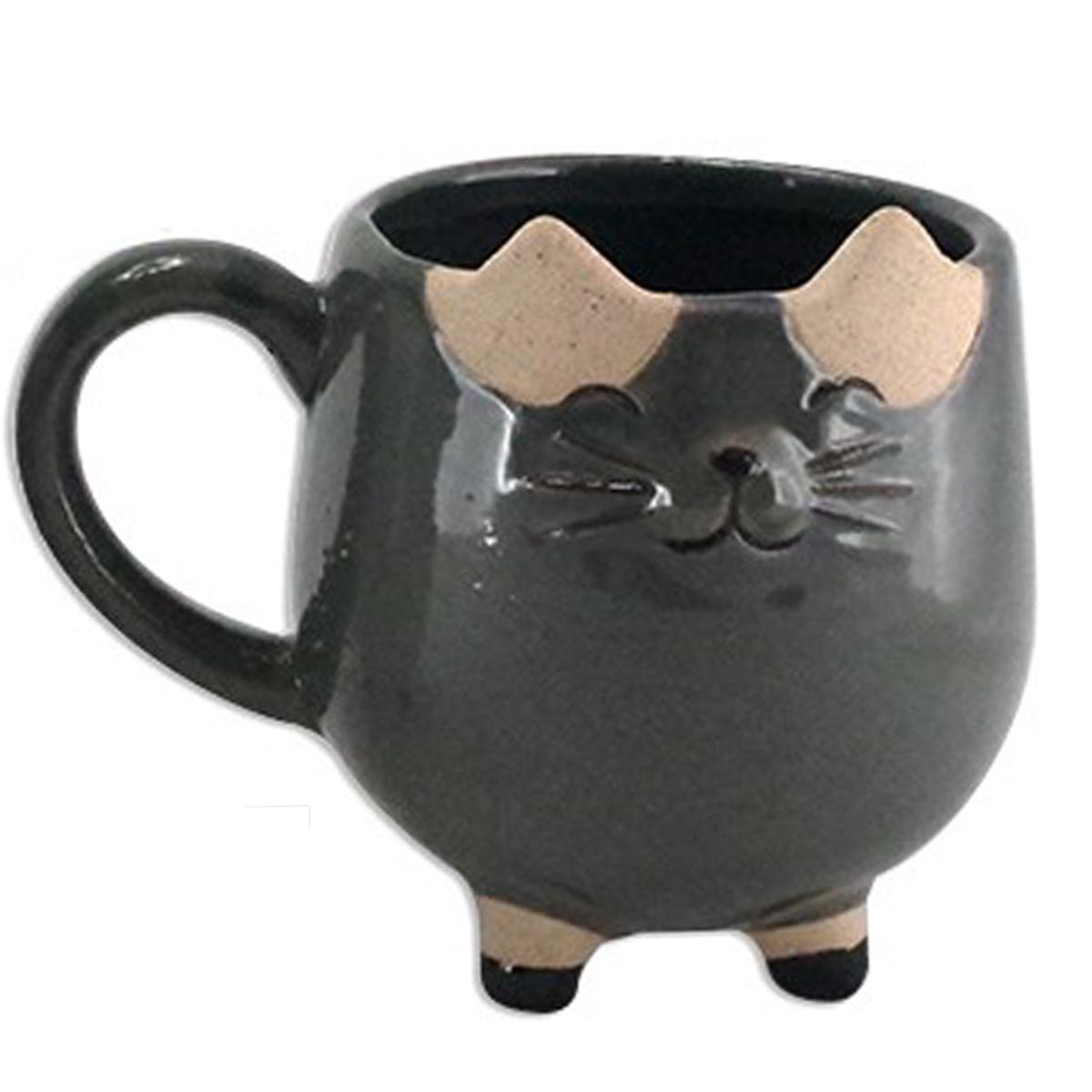 Cache pot céramique \'Chats\' gris foncé - 11x10x14 cm - [A2500]