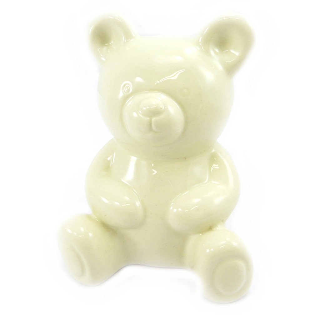 Tirelire céramique \'Bébé Ourson\' beige - 12x9x9 cm - [L6805]