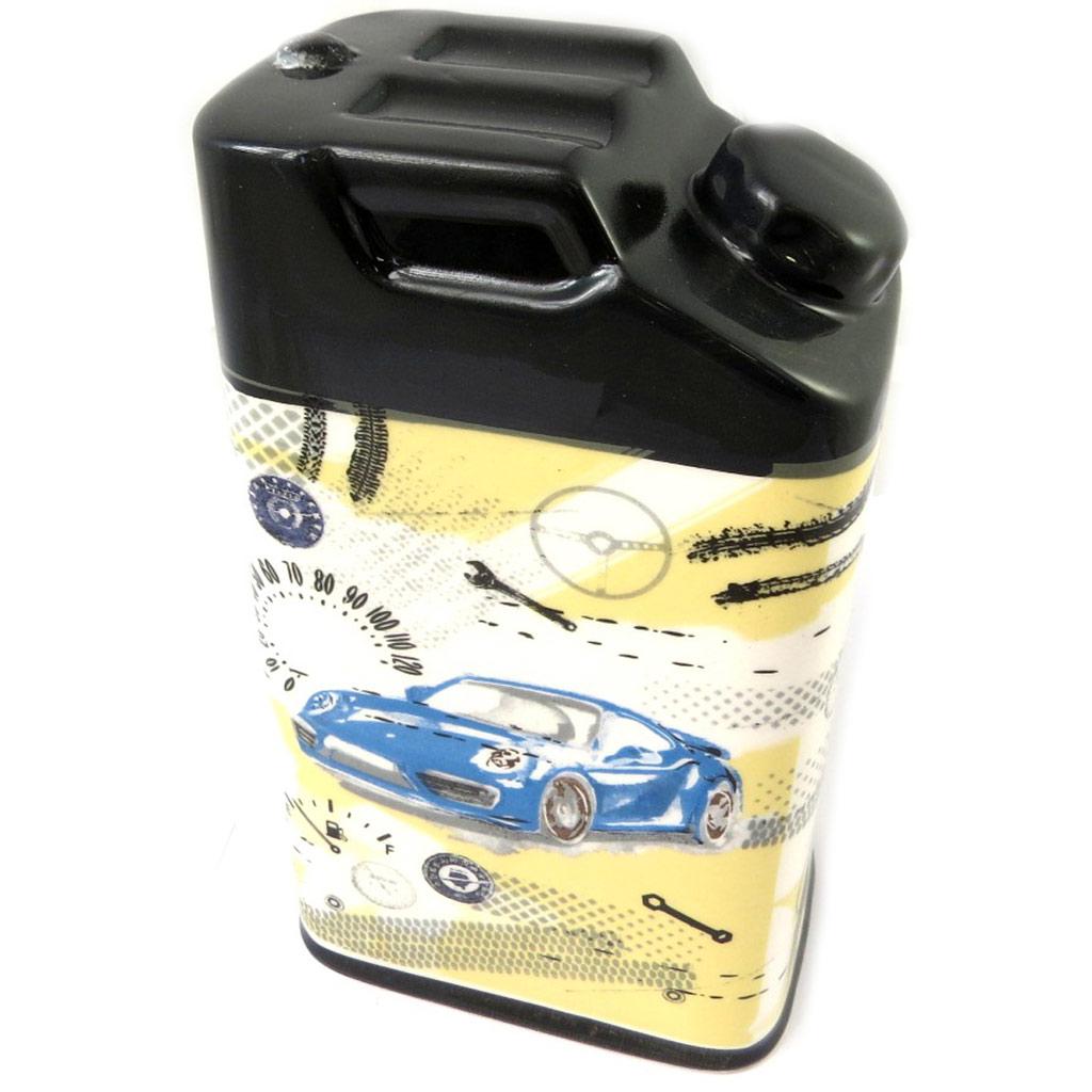 Tirelire bidon d\'essence céramique \'Vintage Cars\' - 18x10x7 cm - [P0315]