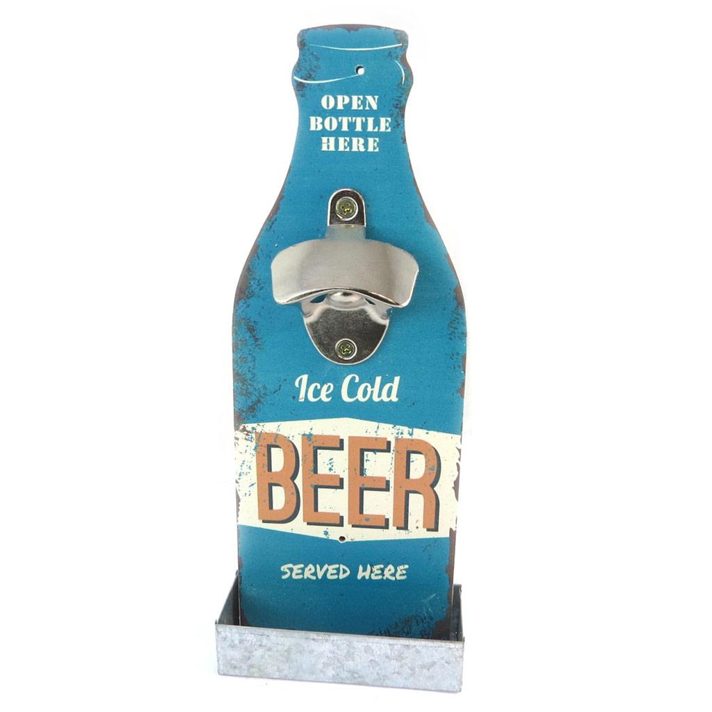 Décapsuleur mural bois \'Beer\' bleu (Ice cold beer served here) - 30x12 cm - [P2074]