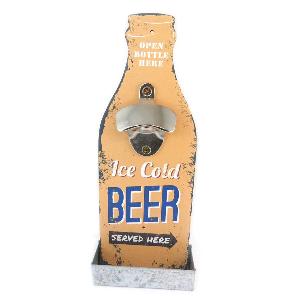 Décapsuleur mural bois \'Beer\' beige (Ice cold beer served here) - 30x12 cm - [P2076]