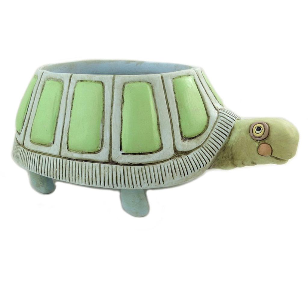 Cache pot résine \'Allen Designs\' vert (tortue) - 26x165x10 cm - [P9066]
