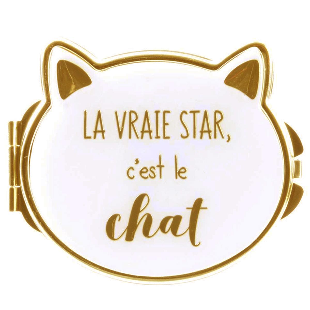 Miroir de poche \'Chats\' beige (la vraie star c\'est le chat) - 8x7 cm - [Q4769]