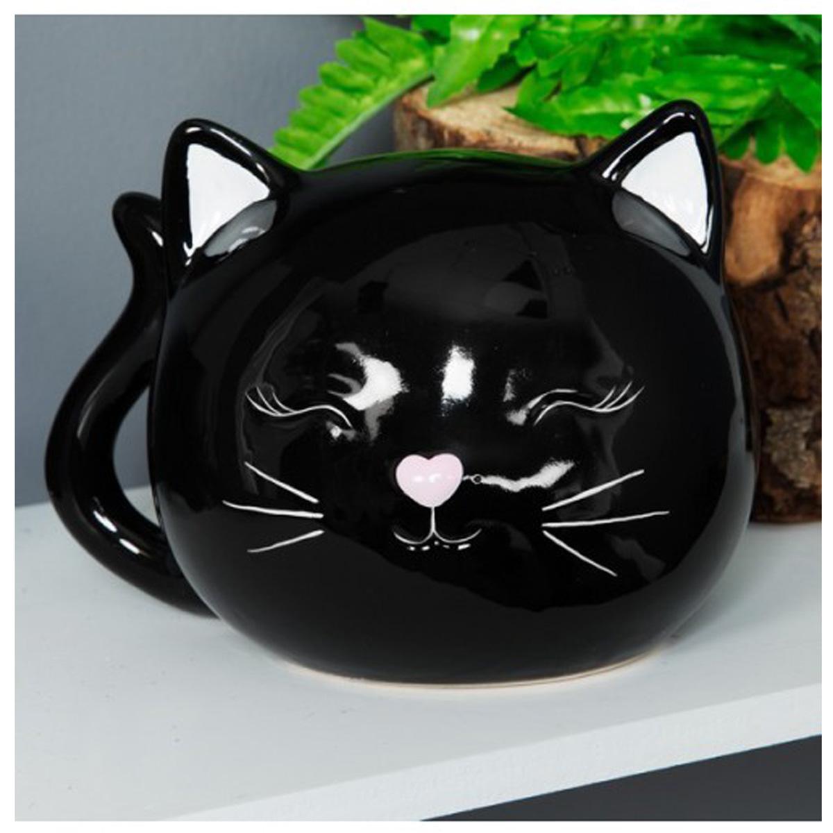 Tirelire céramique \'Chats\' noir (tête) - 17x12 cm - [Q6484]