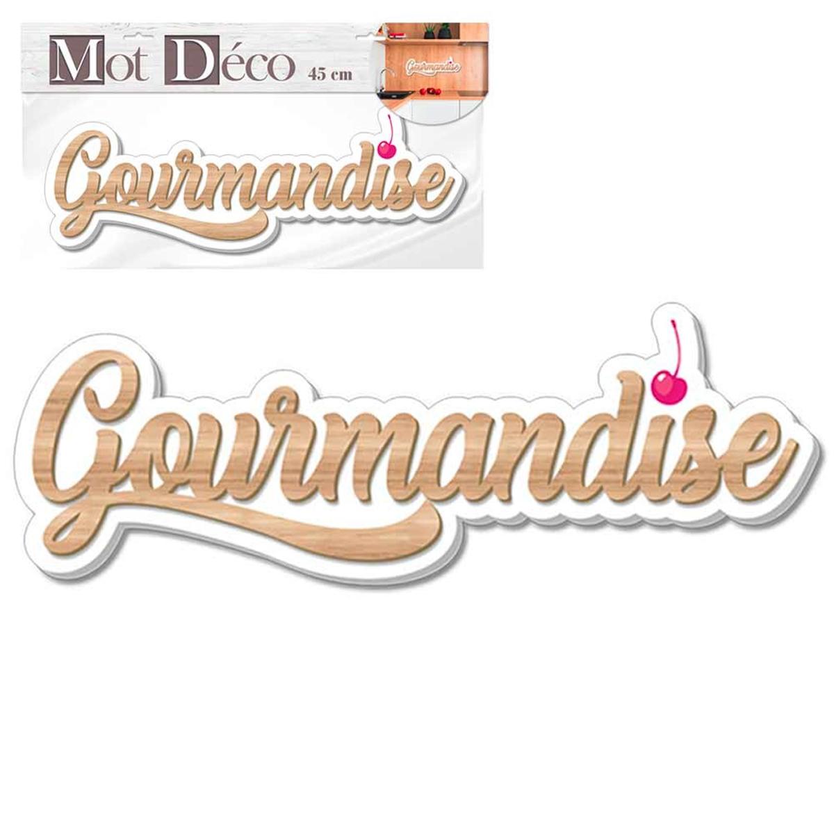 Mot Déco bois 3D \'Gourmandise\' marron blanc - 45x11x1 cm - [Q7318]