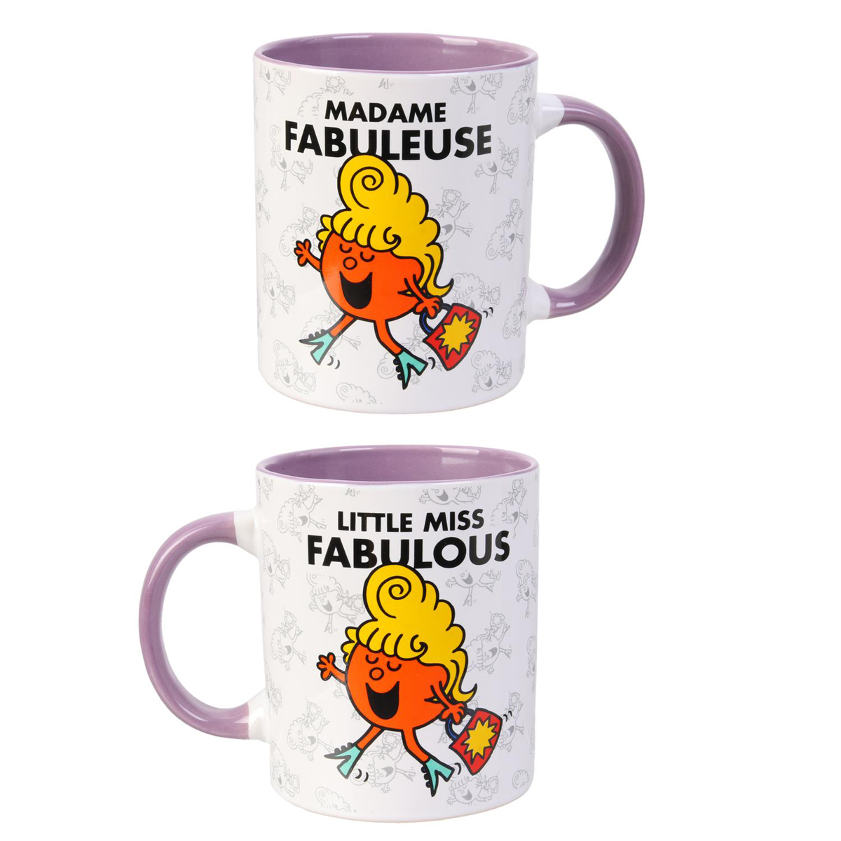 Mug céramique \'Monsieur Madame\' violet (Mme Fabuleuse - Little miss Fabulous) - 95x80 mm - [Q8995]