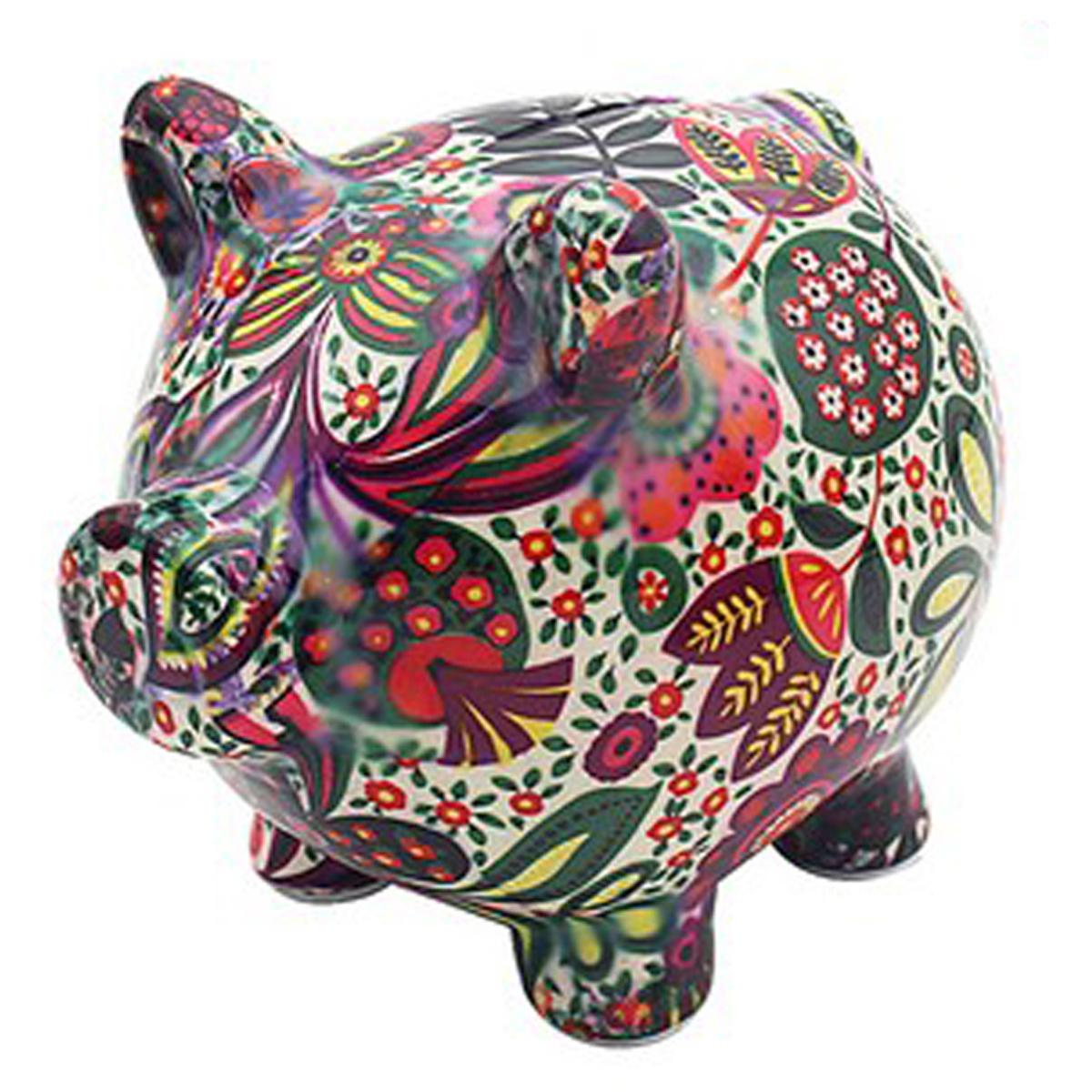 Tirelire céramique \'Cochon\' vert rouge - 15x12x12 cm - [R2708]