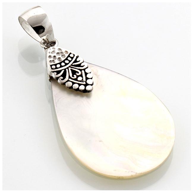 Pendentif Argent artisanal \'Sagesse\' blanc nacre argenté vieilli - 36x23 mm - [R4552]
