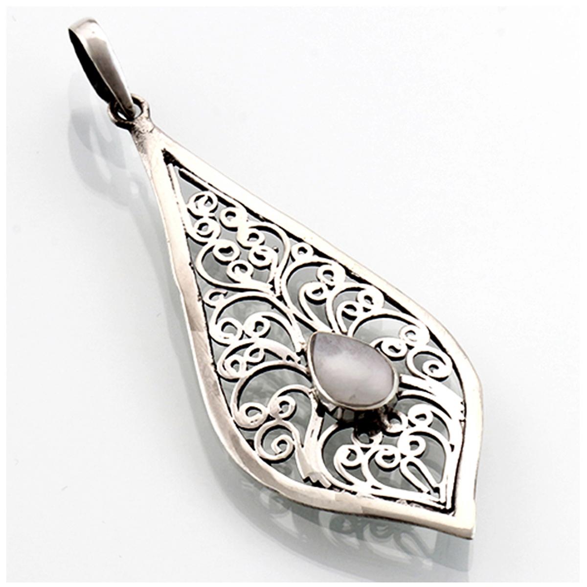 Pendentif Argent artisanal \'Sagesse\' blanc nacre argenté vieilli - 45x20 mm - [R4554]