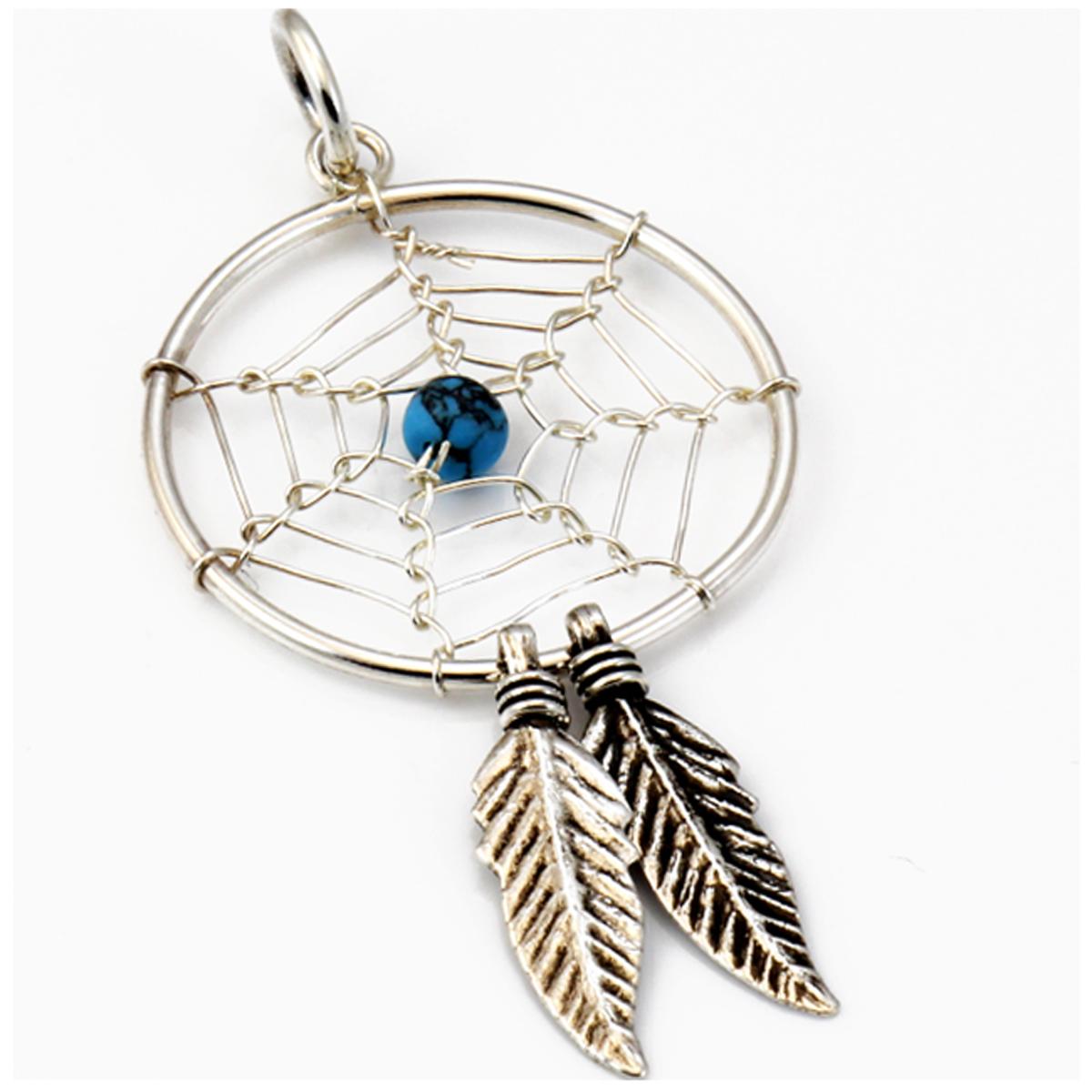 Pendentif Argent artisanal \'Heaven\' turquoise - 35x20 mm (dreamcatcher) - [R4560]