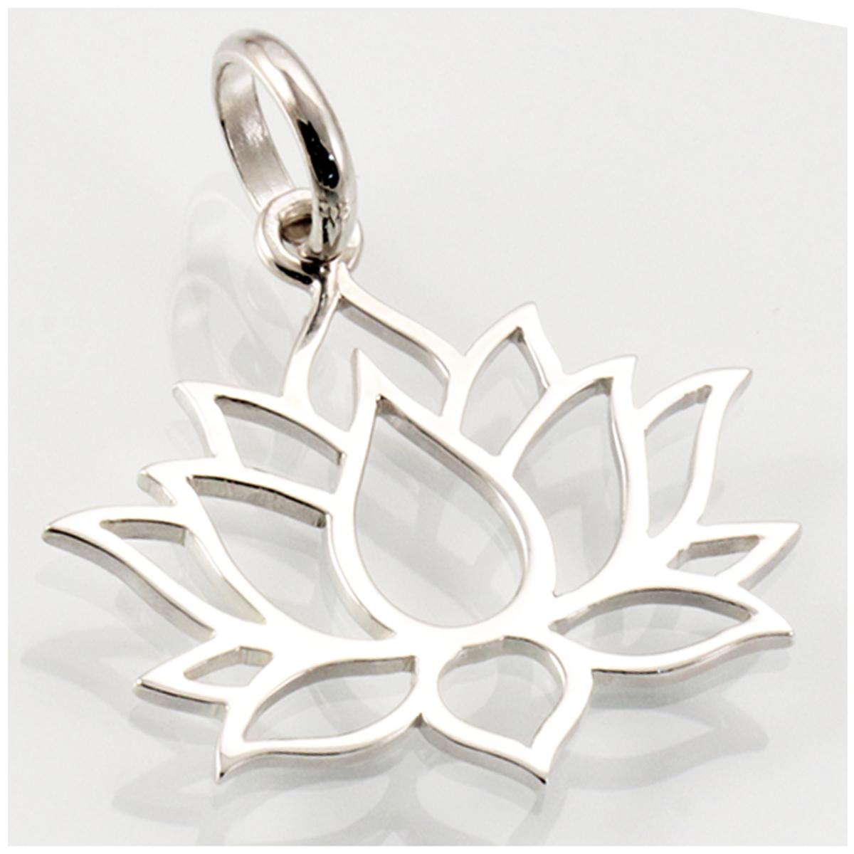 Pendentif argent artisanal \'Fleur de Lotus\' argenté - 22x20 mm - [R4568]