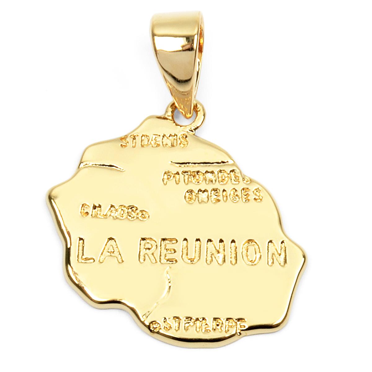Pendentif Plaqué Or \'La Réunion\' doré - 20x15 mm (974) - [L4365]