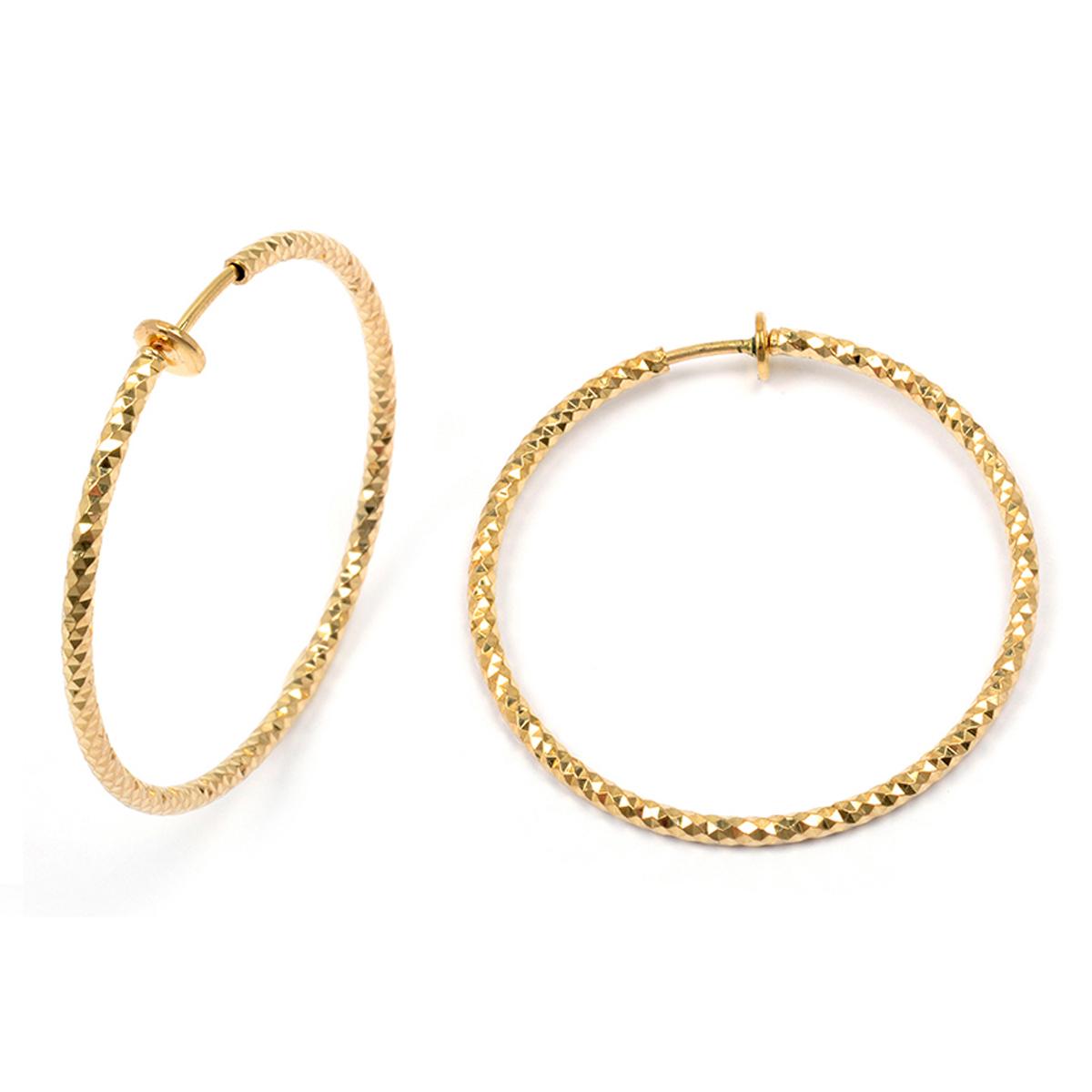Créoles clips plaqué or \'Chorégraphie\' doré - 40x2 mm (diamantées) - [L4576]