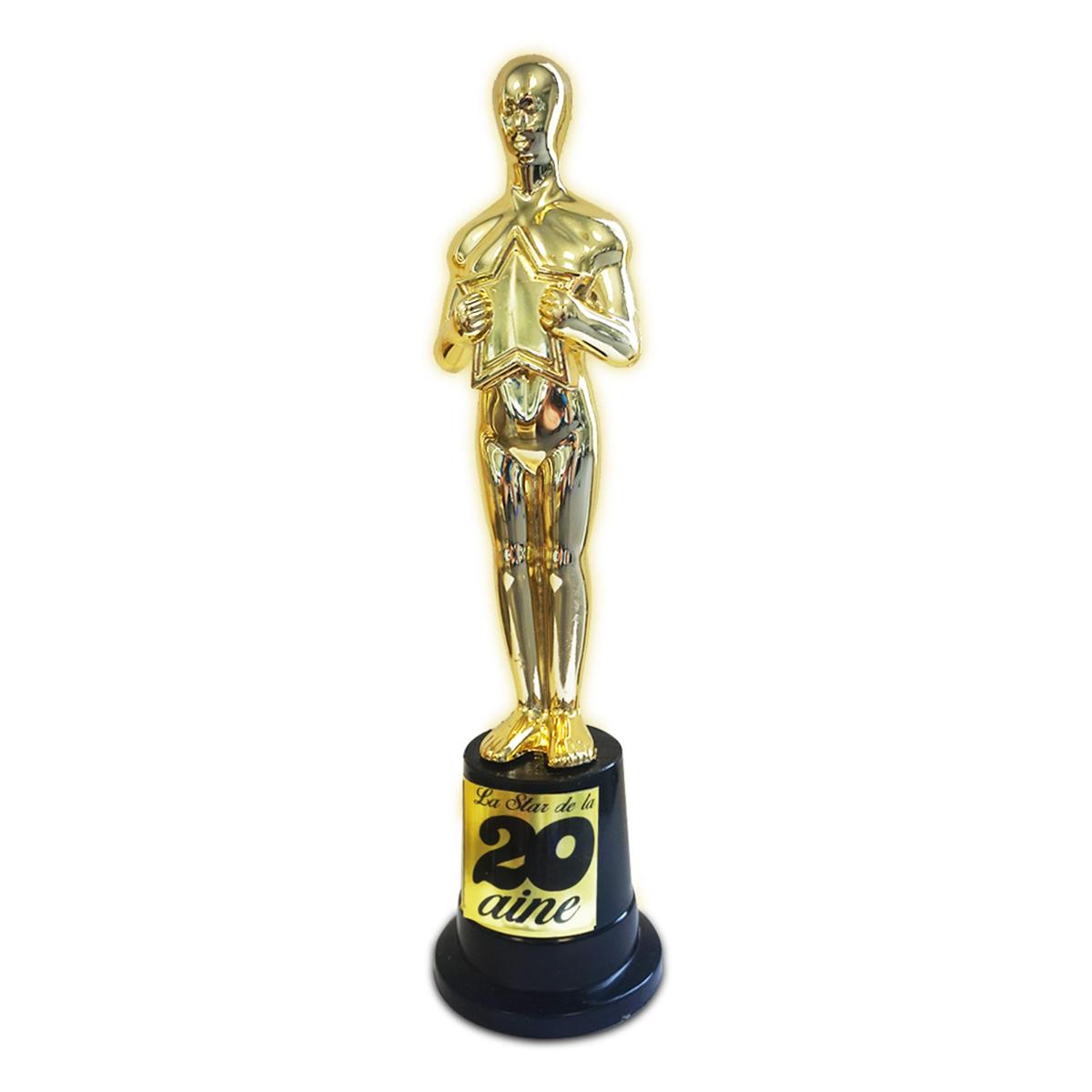Trophée de star \'20 ans\' doré - 23x6 cm - [N4127]