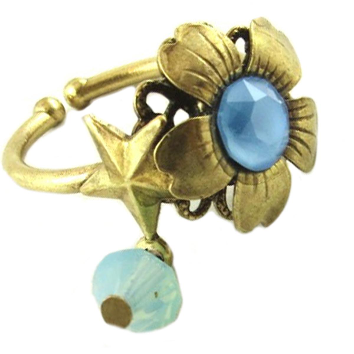 Bague artisanale \'Mythique Syracuse\' bleu vert doré - 15 mm - [P9703]