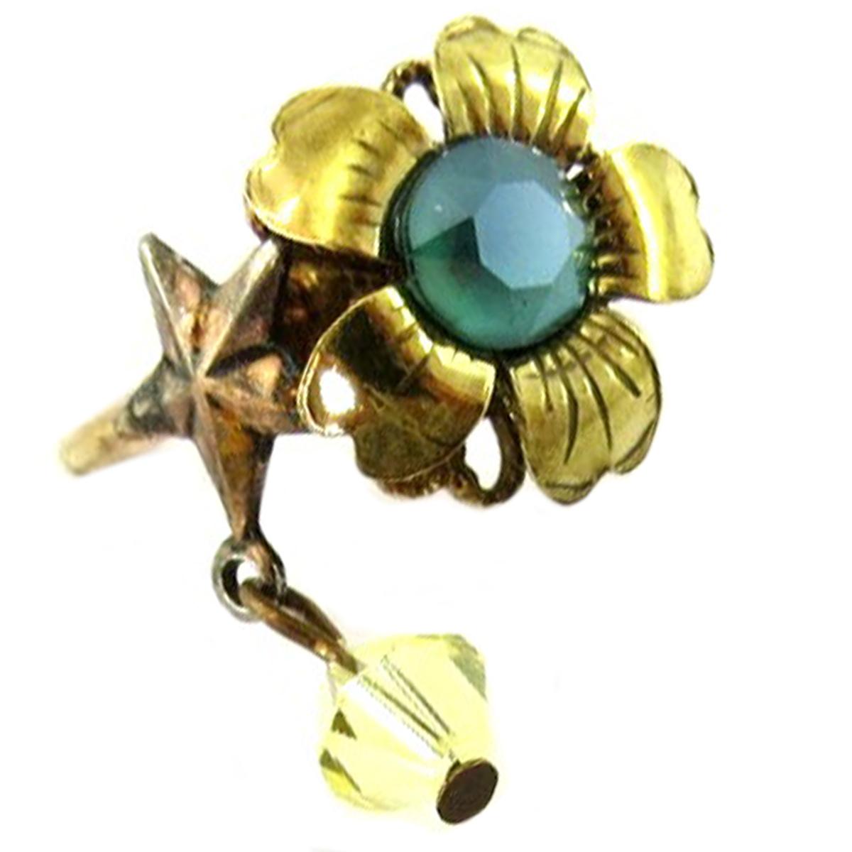 Bague artisanale \'Mythique Syracuse\' vert doré - 15 mm - [P9704]
