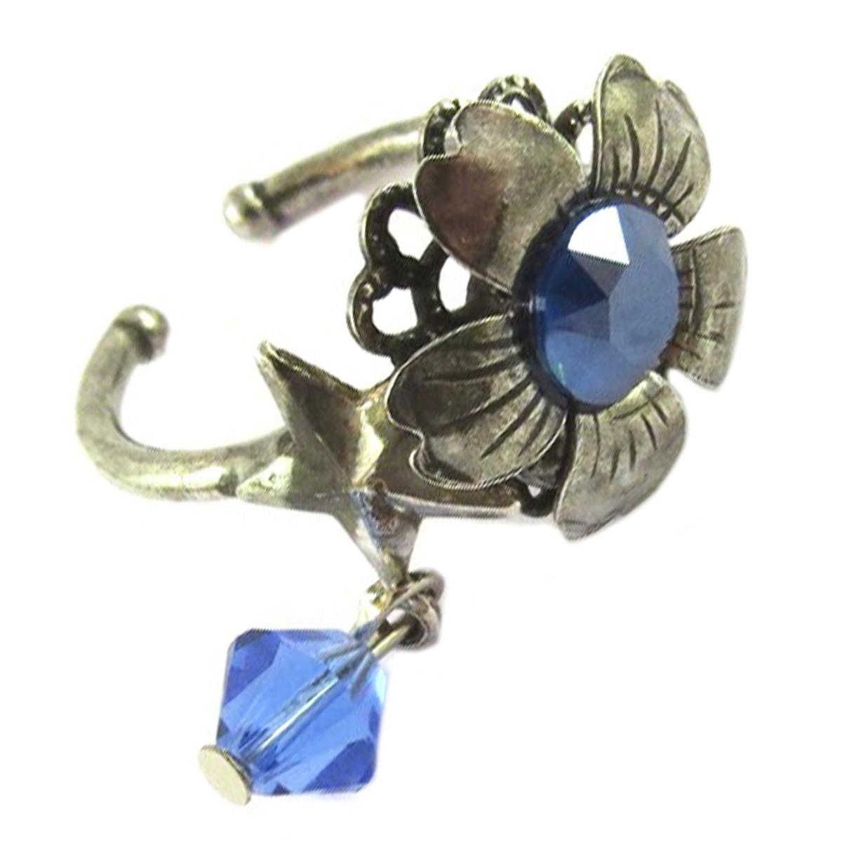 Bague artisanale \'Mythique Syracuse\' bleu argenté - 15 mm - [P9706]