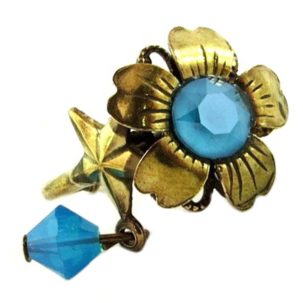 Bague artisanale \'Mythique Syracuse\' turquoise doré - 15 mm - [P9708]