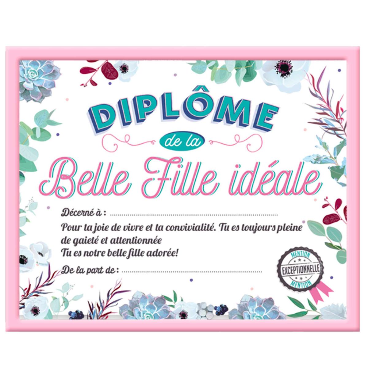 Cadre \'Diplôme de la Belle Fille idéale\' rose - 25x20x15 cm - [A0384]