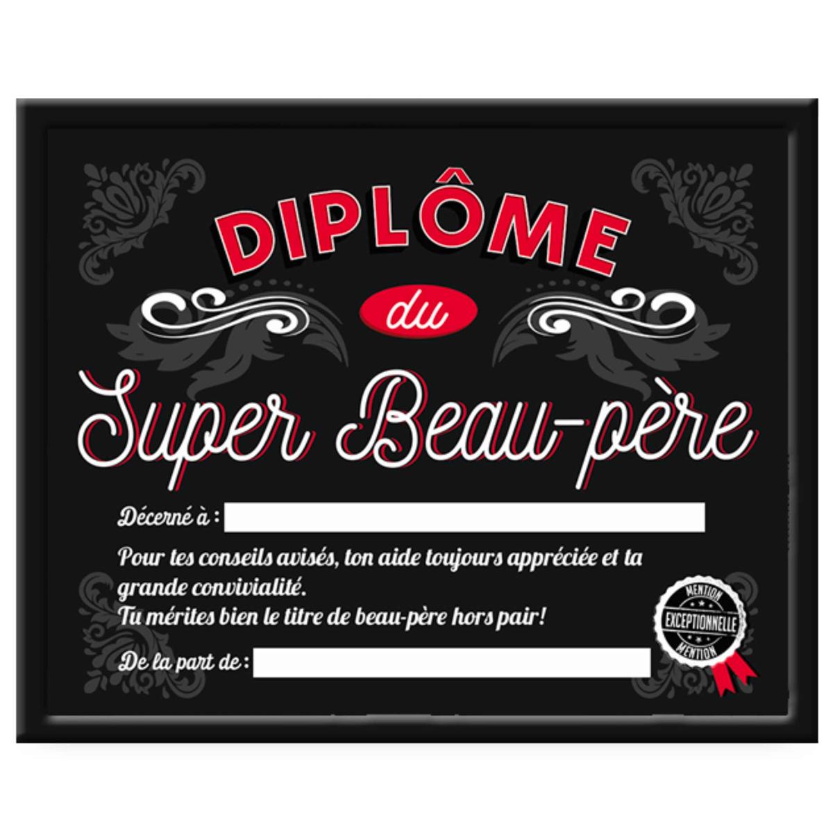 Cadre \'Diplôme du Beau-Père\' noir - 25x20x15 cm - [A0387]