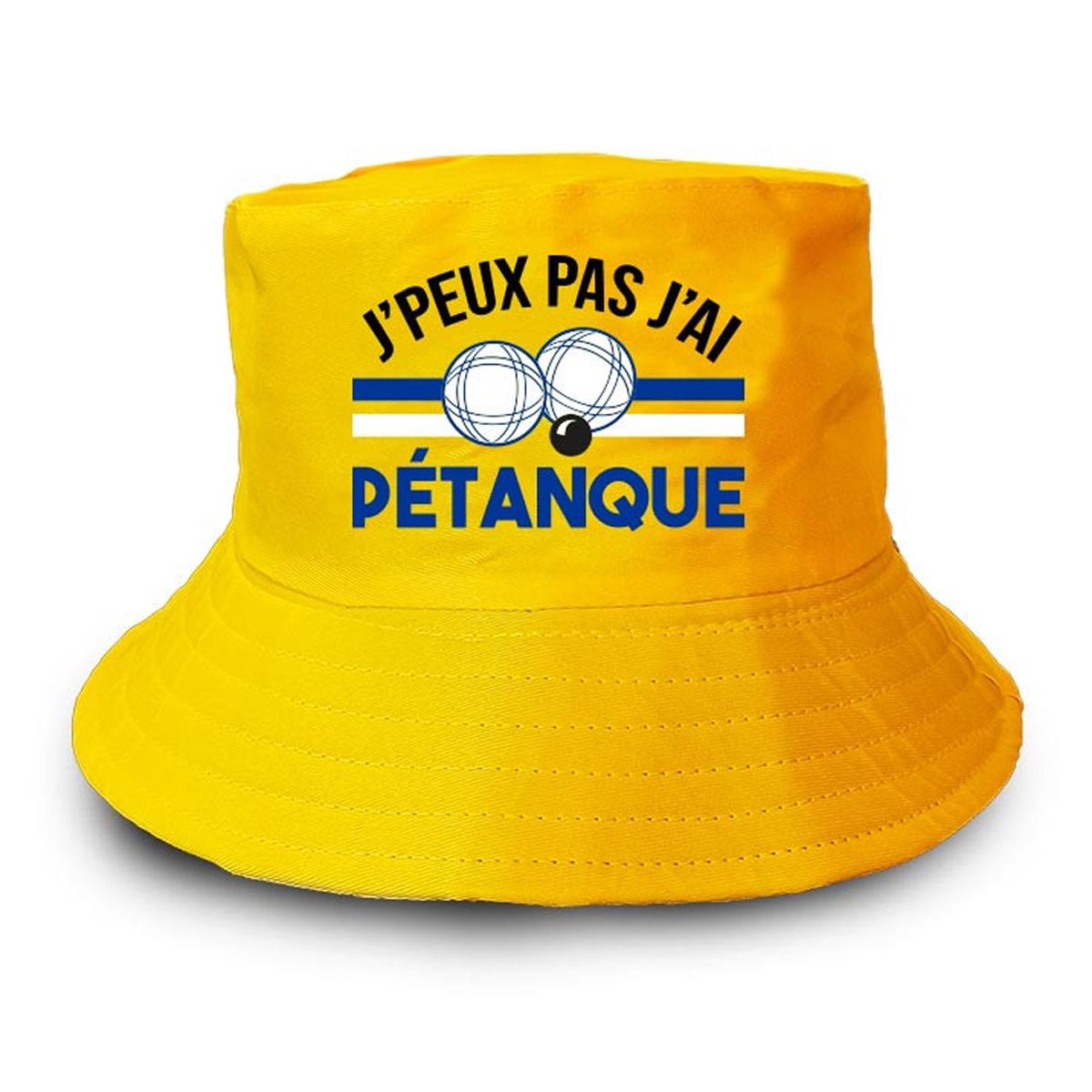 Bob humoristique \'Pétanque\' jaune (J\'peux pas, j\'ai pétanque) - taille unique - [A2209]