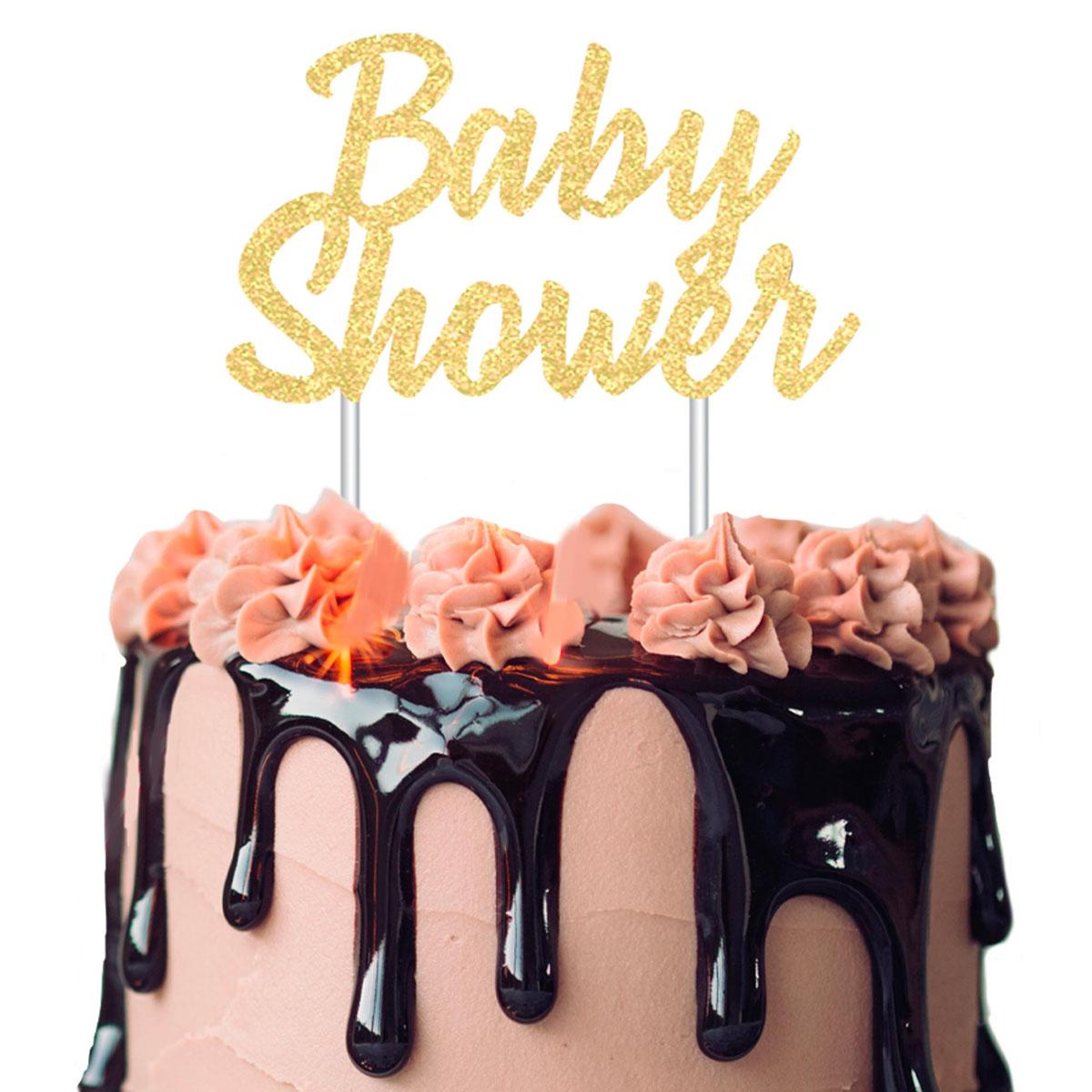 Déco gâteau \'Baby Shower\' doré - 21x18 cm - [A2515]