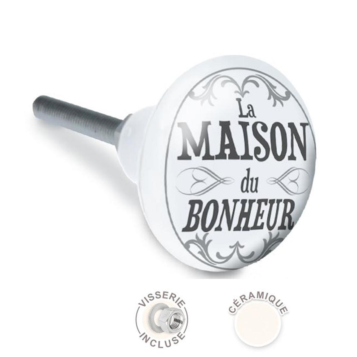 Bouton meuble céramique \'La Maison du Bonheur\' gris - 65x35 mm - [A2516]