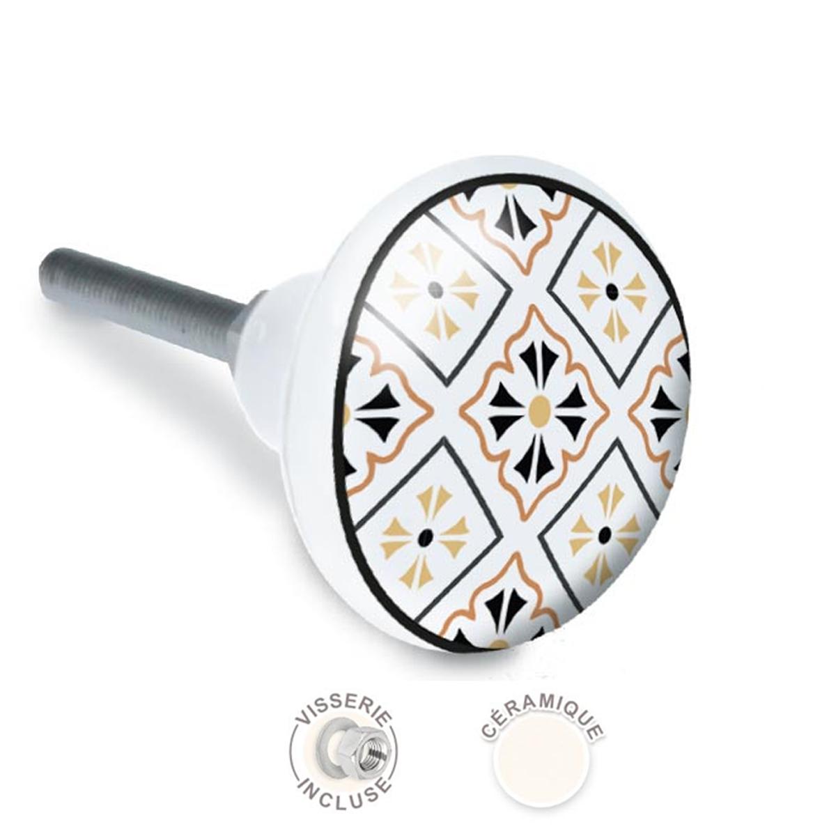 Bouton meuble céramique \'Carreaux de Ciment\' beige noir blanc - 65x35 mm - [A2518]