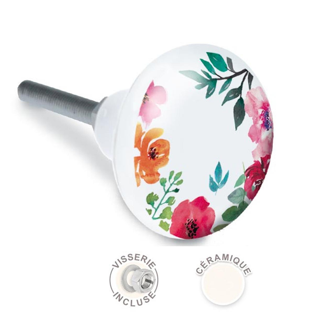 Bouton meuble céramique \'Floral\' multicolore blanc - 65x35 mm - [A2519]