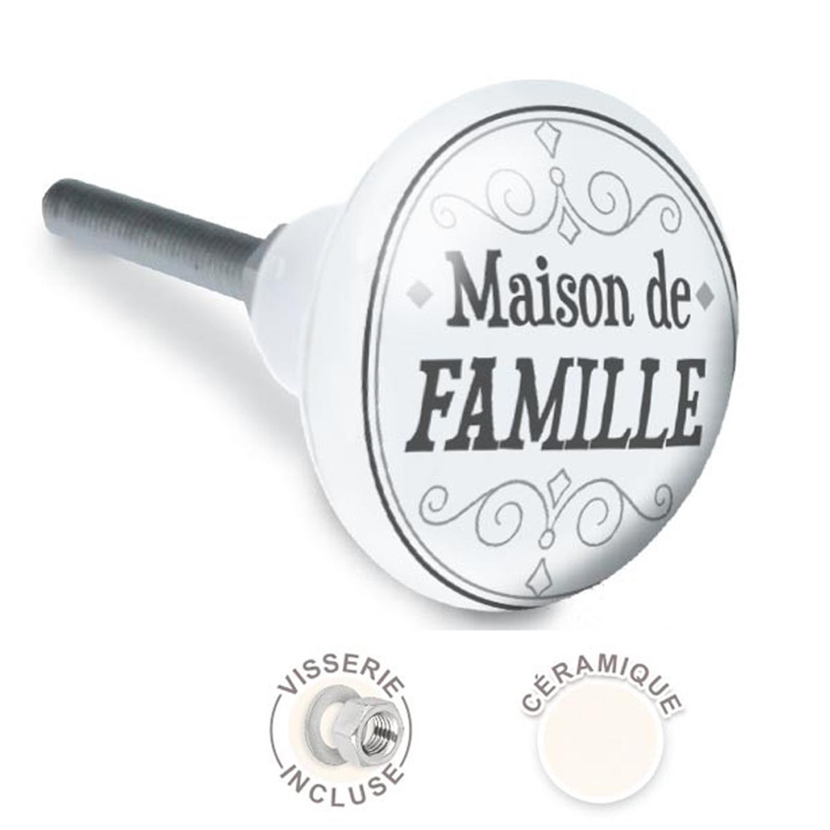 Bouton meuble céramique \'Maison de Famille\' gris - 65x35 mm - [A2523]